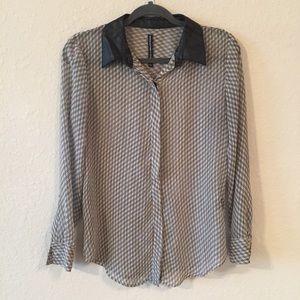 WGB by Walter Baker Sheer Button Down Shirt